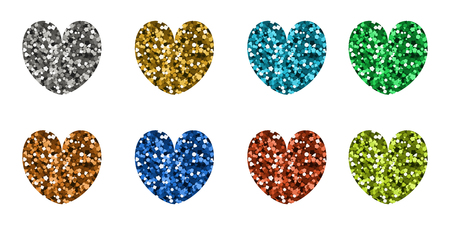 Set of abstract icons in the shape of hearts. Vector illustration. Multicolored sequins. Valentine day