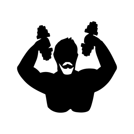 Abstract symbol of athletic man. Vector illustration. Black and white stylized silhouette. Illustration