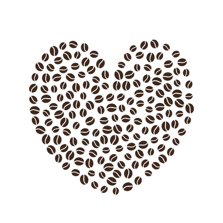Coffee beans. Vector illustration. Valentines day. Shape of heart. Cappuccino espresso latte