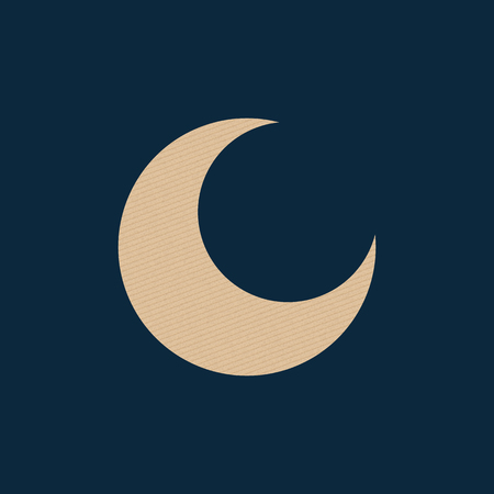 Abstract icon of the moon. Vintage cardboard texture. Vector illustration. Night sky.