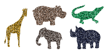 African animals. Safari vector illustration. Set of icons. Multicolored sequins