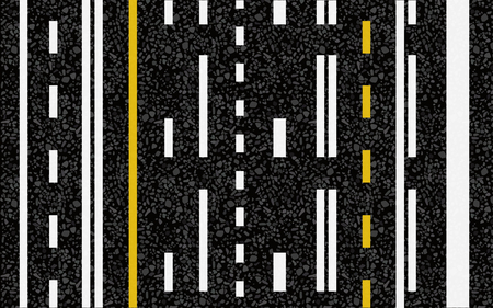 Lines and lane markings on the road. Vector illustration. The texture of the asphalt.