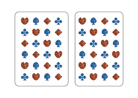 The back side of the playing card. Poker and bridge. Standard size. Vector illustration. Red and blue spangle. Illustration