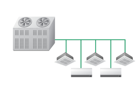 Chiller with Ceiling Cassette and wall indoor units. Air cooling. Vector illustration. Illustration