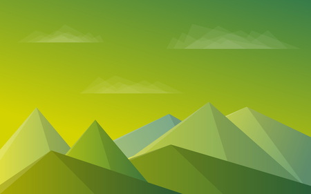 Mountains, blue sky, clouds. Morning green landscape Vector illustration  イラスト・ベクター素材