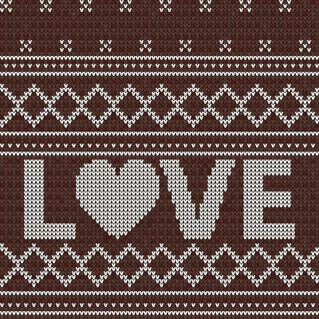 Rot gestrickt. Liebe. Nahtloser Musterhintergrund. Pullover-Vektor-Illustration. Weihnachtsstrickwaren