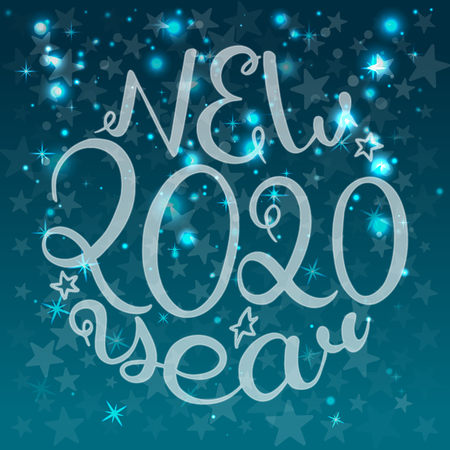 2020 New Year. Calligraphic text. Vector illustration. Blue background with stars