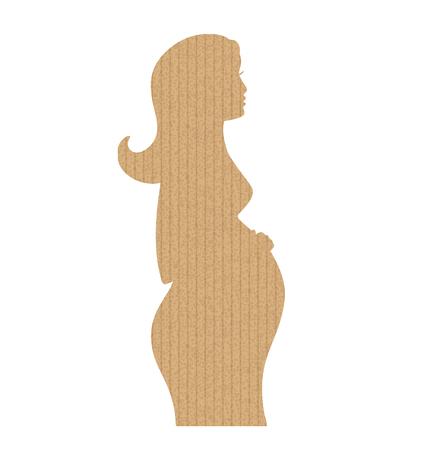 Shape of pregnancy girl. Cardboard texture. Vector illustration. Vintage icon Illustration
