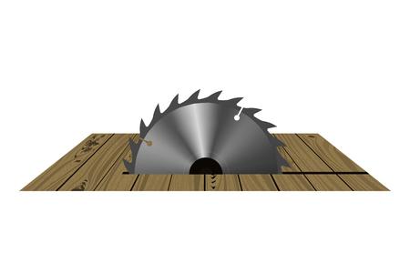 Circular saw. Vector illustration. The equipment cuts wooden boards. Çizim