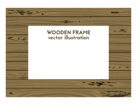 Square old frame. Vector illustration. Wood texture Illustration
