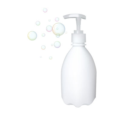Plastic bottle with dispenser. Vector illustration. Soap container. Bubble