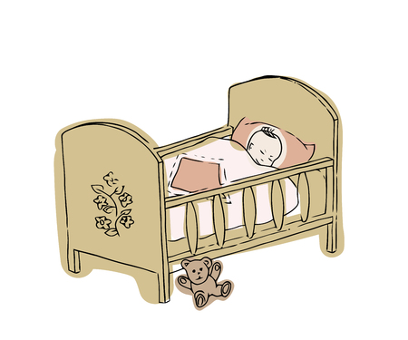 Baby crib. Newborn vector illustration. Sketch of cot for the infant girl.