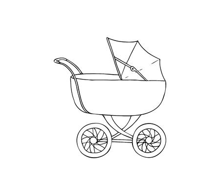 Baby carriage. Pram for infant. Vector illustration
