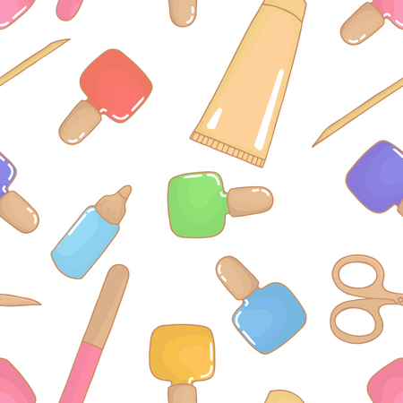 Beauty industry. Repeat pattern background. Manicure salon. Vector illustration. Wallpaper nail design