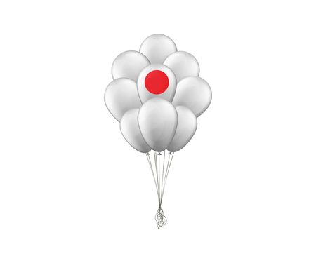 Bunch of balloons. The Flag Of Japan. Vector illustration.