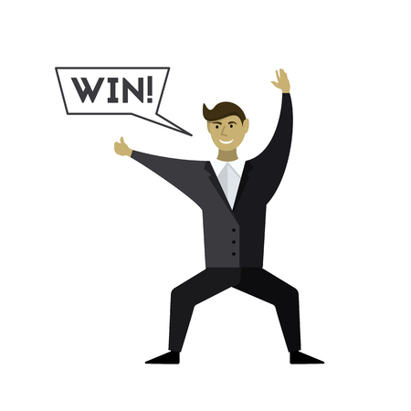 Happy the man to win. Speech Bubble. Vector illustration.  イラスト・ベクター素材