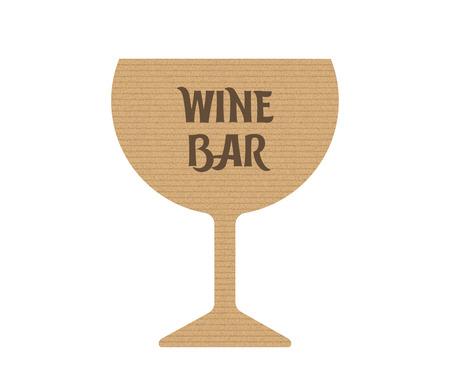 Wine bar icon. Cardboard silhouette Vector illustration