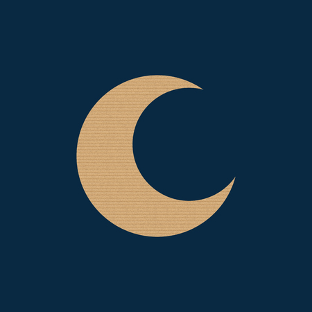 Textured icon of the moon. Cardboard texture. Vector illustration. Night sky design. Ilustrace