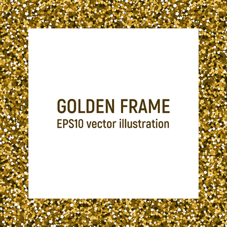 Shiny golden frame. Bright spangle. Vector illustration. Invitation card
