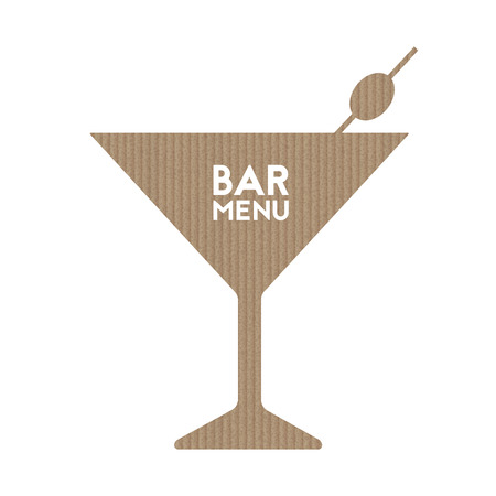 Bar menu. Martini and olive. Abstract cardboard shape. Vector illustration