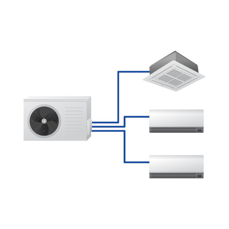The air conditioning system vector illustration. Multi split. One outdoor and three indoor unit. Ceiling Cassette and wall mounted. Illustration