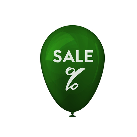 3D green balloon. Spring sale. Percent sign. Vector illustration. Holiday offer Imagens - 124890064