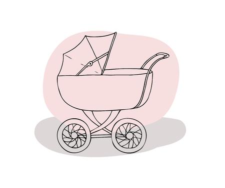 Baby carriage. Pram for newborn. Vector illustration