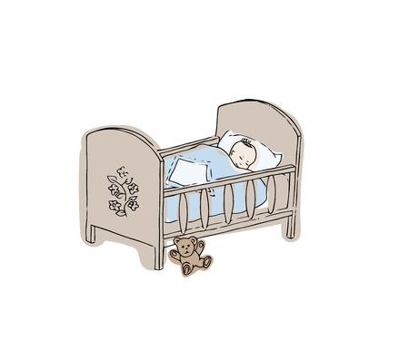 Lit de bébé. Illustration vectorielle nouveau-né. Croquis de lit pour le bébé garçon.