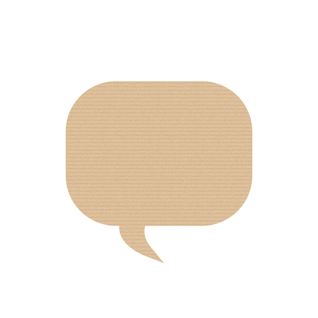 Bubble speech is in the shape of square. ardboard texture. Vector illustration. Messenger. Иллюстрация