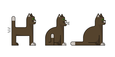 Brown cats. Collection of flat icons. Sitting, standing, farting Vector illustration