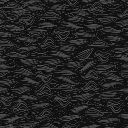 The texture of the black fur. Seamless pattern background. Vector illustration. Ilustração