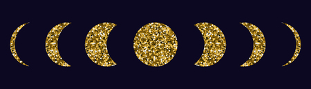 Moon phases icons set. Dark background. Silhouette of gold sequins. Vector illustration.