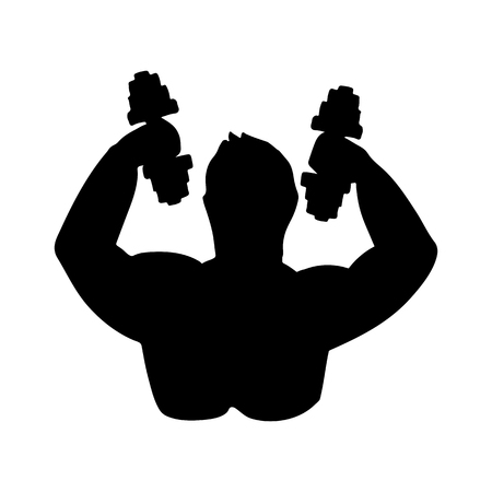 Silhouette of bodybuilder. Vector illustration. Black and white icon.