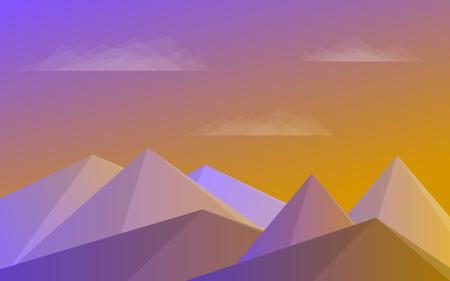 Mountains, blue sky, clouds Morning landscape Vector illustration  イラスト・ベクター素材