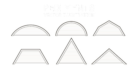 Set of icons of the pediments. Vector illustration. Architectural drawing.