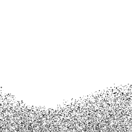 Greeting card with silver sequins. Glitter at the bottom. Vector illustration of sparkle. White background.