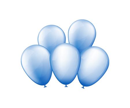 Bunch of blue balloons. Birthday present. Vector illustration  イラスト・ベクター素材