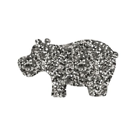 Silhouette of a hippo. Vector illustration. Simple icon. Silver tinsel
