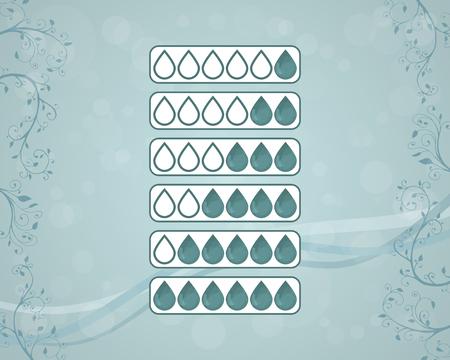 Set of drops. Menstrual sanitary pad and tampon types. Menstruation. Vector illustration. Blue design.