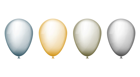 Silver, golden and blue balloons. Vector illustration set. Realistic 3d