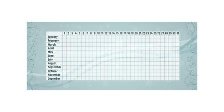 Menstrual period calendar. Monthly woman menstruation control. Vector illustration. Empty blue table.