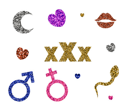 Set of sexy icons. Vector illustration. Sequins and glitter. Abstract erotic symbols.  イラスト・ベクター素材