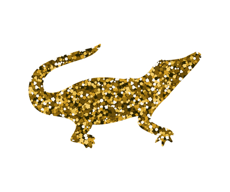 Silhouette of a crocodile. Vector illustration. Simple icon. Gold sequins