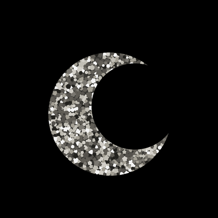 Moon icon on black background. Silhouette of silver spangle. Vector illustration.