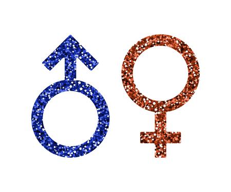 Men women icons. Vector illustration. Blue and red sequin. Mars, Venus  イラスト・ベクター素材