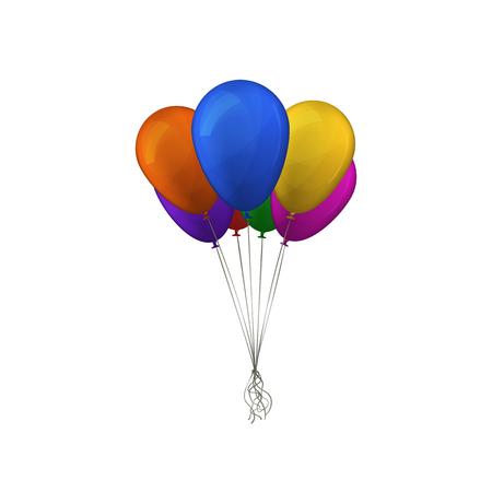 Bunch of multicolor balloons. Vector illustration. Happy birthday design. Vector Illustration