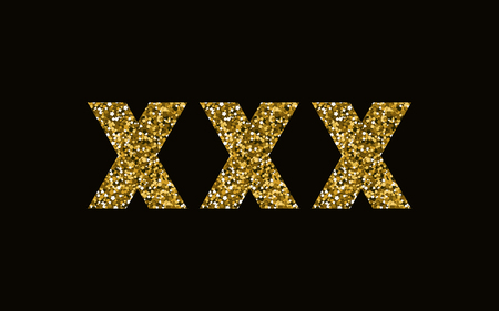 XXX vector illustration. Icon with golden sparkle. Dark background. Nightlife design  イラスト・ベクター素材