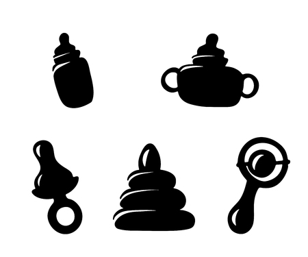 Set icons items for the infant baby. Vector illustration. A bottle of milk, a pacifier, a rattle and a toy. Ilustração