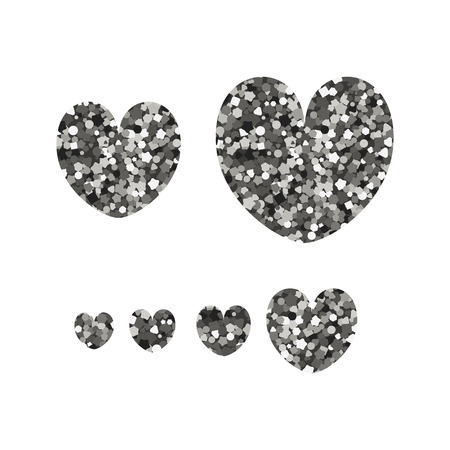 Set of abstract icons in the shape of hearts. Vector illustration. Silver sequins. Valentine day