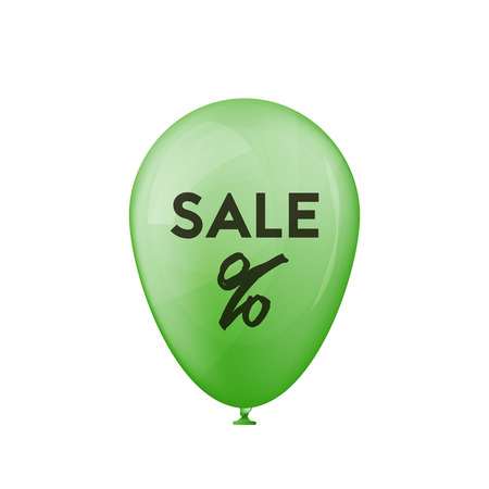 3D green balloon sales. Percent sign. Vector illustration. Holiday offer